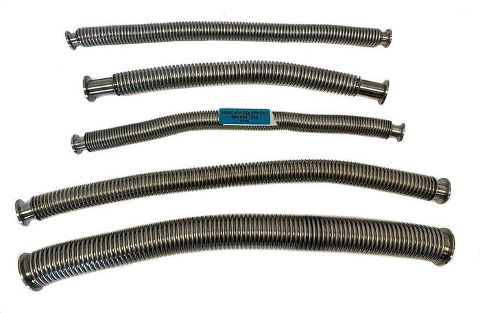 "Used Corrugated Flex Hose Bellows SS, KF25, KF16, KF40 Length 18-24"" Lot of 5 (8608)W"