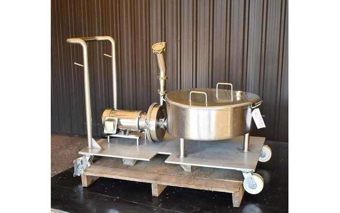 USED 20 GALLON STAINLESS STEEL BALANCE TANK, WITH CENTRIFUGAL PUMP