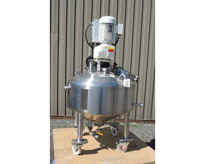 USED 30 GALLON JACKETED TANK, 316 STAINLESS STEEL, WITH VARIABLE SPEED SCRAPE AGITATION