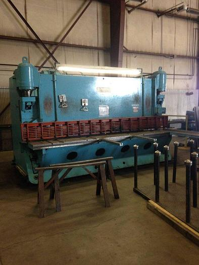 Used Pacific Hydraulic Shear 12′ 1/2″ Plate Capacity Metal Fabricating Machine with new blades.