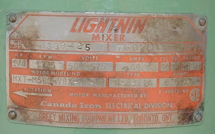 USED LIGHTNIN TOP ENTRY MIXER, MODEL N33G 25, 0.25 HP