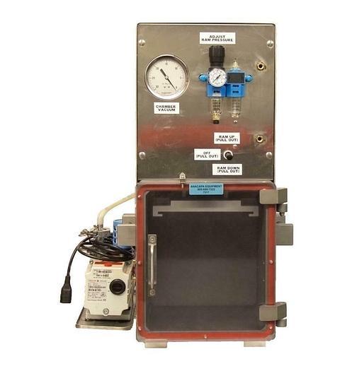 Used Pneumatic Press in Vacuum Chamber 10 x 9 x 11, Pfeiffer Duo 2.5 Vacuum Pump 7317