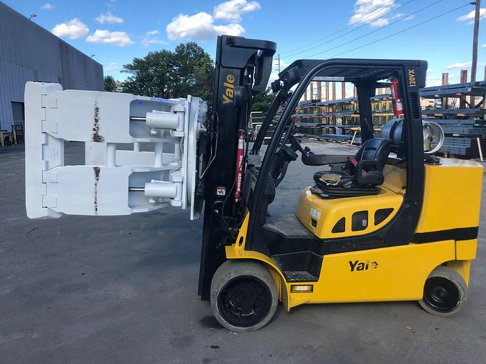 "Used 12,000 POUND YALE ROLL CLAMP TRUCK MODEL GLC120VXPRS W/ 72"" CLAMP MFG. 2015 RAISED MAST 185"""
