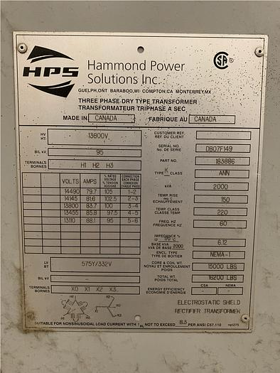 INDUCTOTHERM 1250-2CR POWER MELT