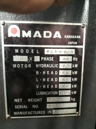 1991 High accuracy three axes CNC automatic drilling machine Amada 8BH-900