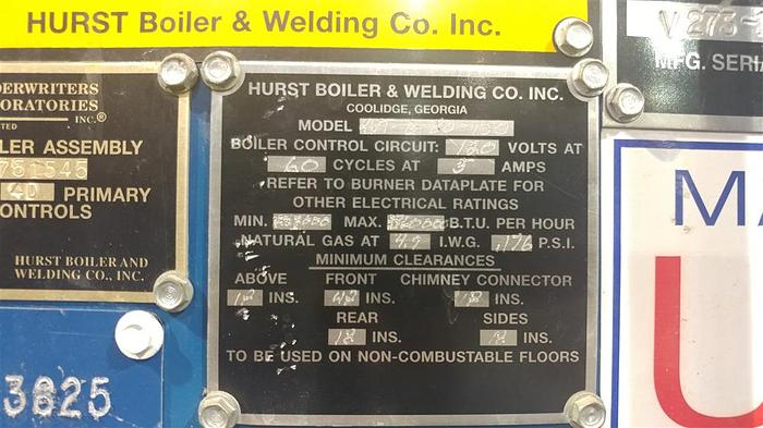 2007 Hurst 80 HP 150 PSI Steam Boiler 4VT-G-80-150