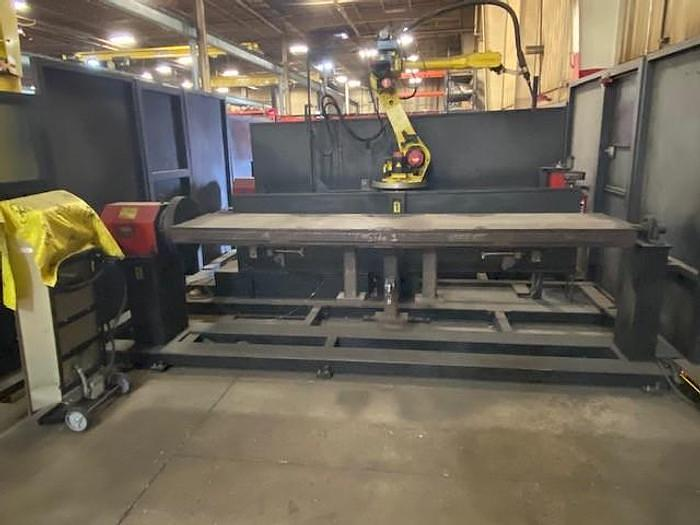Used LINCOLN DUAL TRUNION MIG WELDING CELL WITH FANUC ARCMATE 120iB/10L 6 AXIS CNC ROBOT