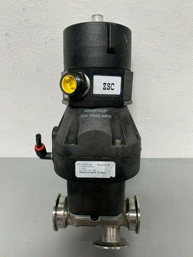 "Used ITT Sherotec 4-way 316L Valve w/ 2"" & 1"" Sanitary Fittings w/ Position Monitor"