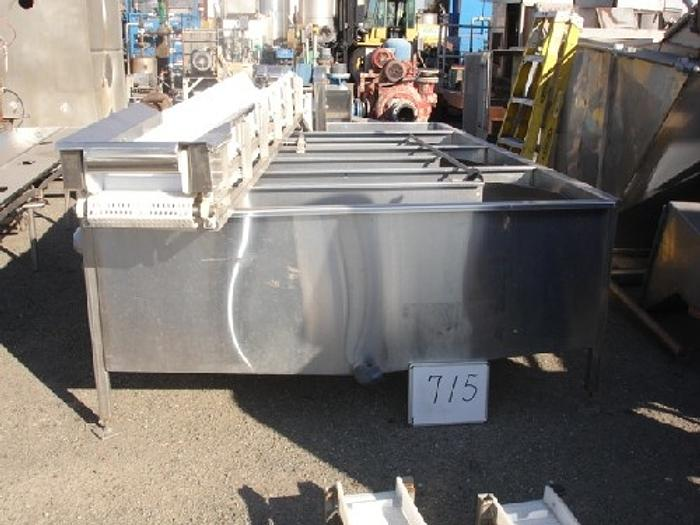 "S/S flume/wash tank 7'x10'6x27"" deep s/s serpentine flow w/internal dividers 4""x3"" G&L centrifugal recirculation pump 3Hp-1745 RPM motor"" #715"