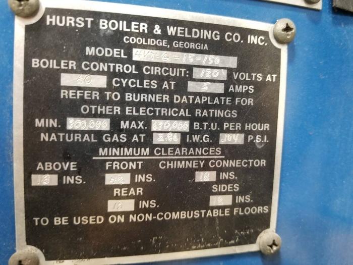 HURST 15 HP STEAM BOILER