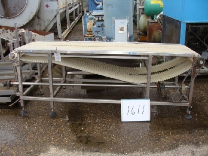 """Dual Intralox Belt Conveyor 24 wide x 7.5' long with (2) 12"""" wide Intralox belts 35"""" high infeed with adjustable legs chain drive system w/drive shaft"""" #1611"""