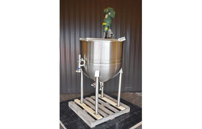 Used USED 100 GALLON JACKETED KETTLE, STAINLESS STEEL, WITH CLAMP-ON MIXER