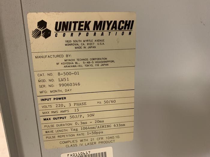 MIYACHI UNITEK LW51 COMPACT YAG LASER