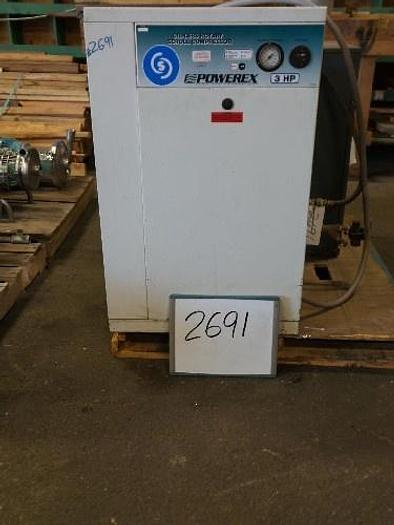 Used Powerex 3 Hp. Oil-Less Rotary Scroll Air Compressor,