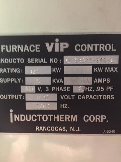1998 INDUCTOTHERM 125 KW VIM VACUUM INDUCTION MELTING SYSTEM
