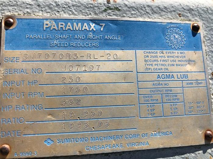 HB18253 Paramax 7 Parallel Shaft and right angle speed reducer 250 HP w 150 HP Motor