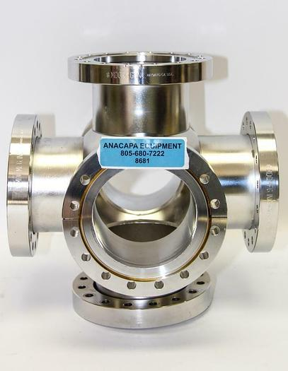 """Used MDC High Vacuum Chamber 6-Way Cross Stainless Steel DN100 Flange, 6"""" Dia (8681)W"""