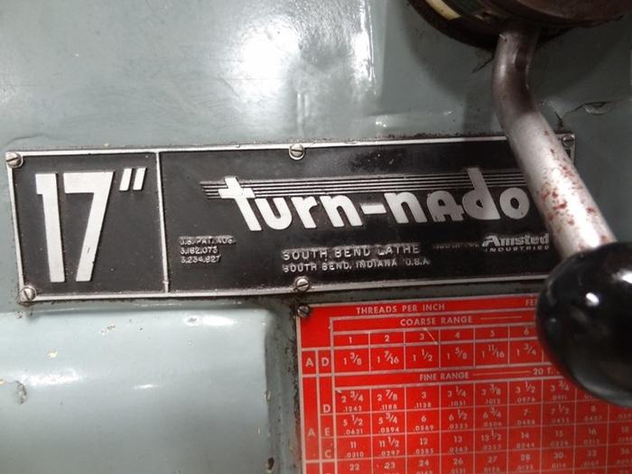 "SOUTHBEND TURNADO 17"" X 54"" ENGINE LATHE"