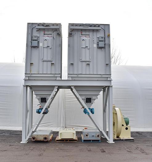 Used USED MAXITUBE PULSE AIR DUST COLLECTORS WITH 100 HP FAN, ROTARY VALVES & CONTROL PANELS
