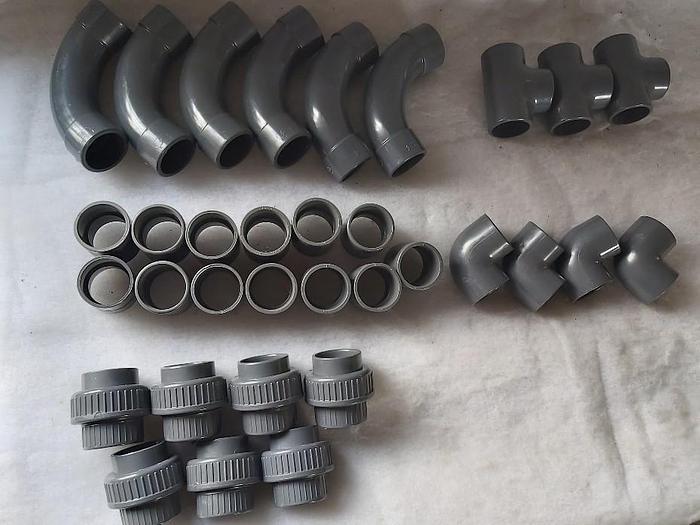 33 Stück Klebefittinge, PVC U, d50mm, DN40, PN 16, GF,  neu