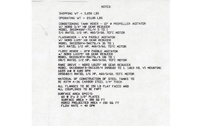 USED LAMELLA / CLARIFIER GRAVITY SETTLER/THICKENER, 300 SQ. FT.
