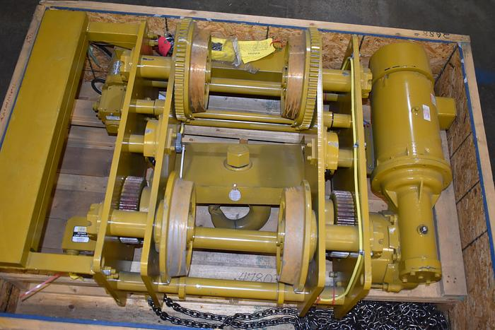 2014 16 ton electric Yale/ Ingersoll-Rand chain hoist / Chester hoist, low head room hoist, unused 32,000 lbs powered trolley crane 16 ton