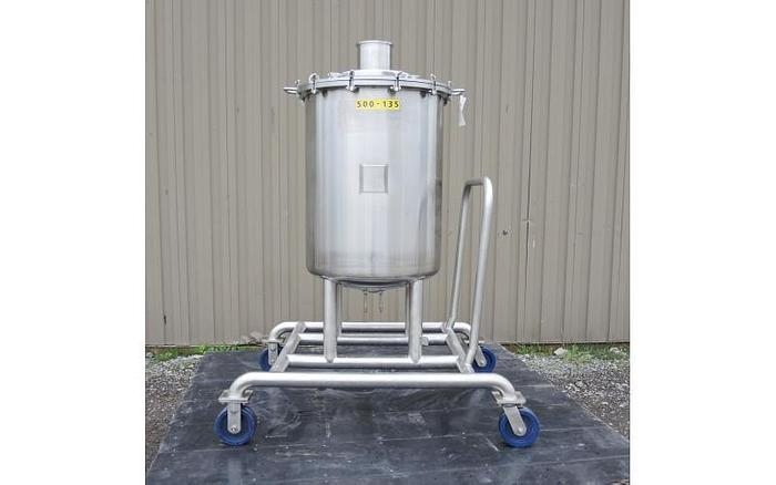 Used USED 53 GALLON TANK (VESSEL), 316L STAINLESS STEEL
