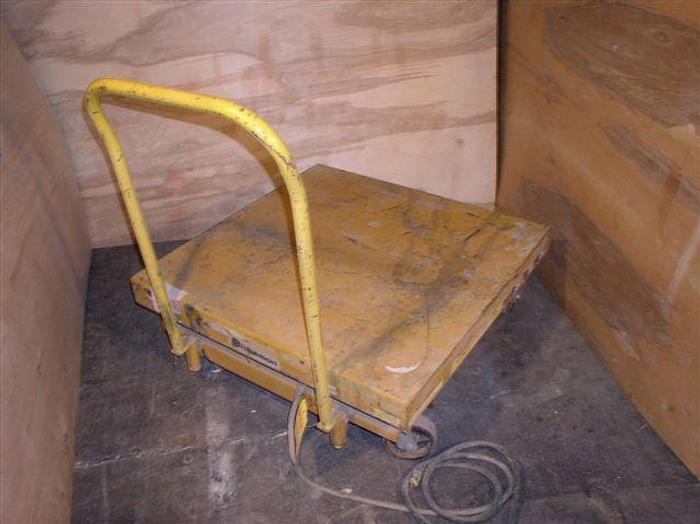 Used 2,500 lb. Bishamon Hydraulic Scissor Lift w/Factory Truck
