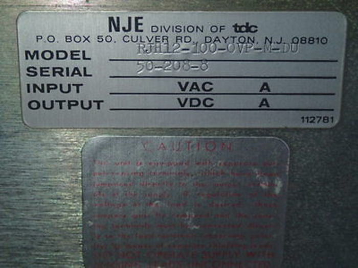 NJE DC model RJH 12-100-OVP-M-DU power supply