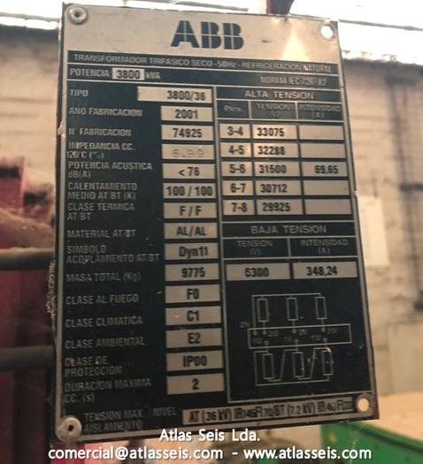 ABB 3 phase Dry-type Transformer 3800 kVA / 30000 V to 6300 V / 50 Hz
