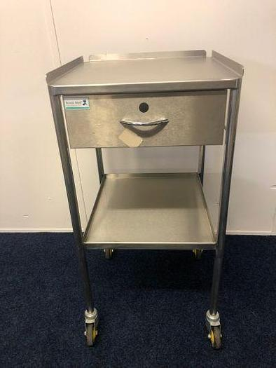 Trolley Stainless Steel 450 x 450mm 2 Shelves with drawer