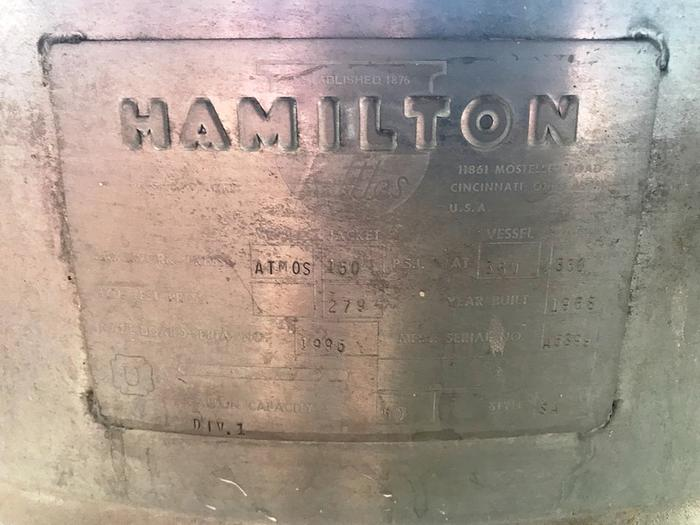 50 Gal. Hamilton Steam Jacketed Kettle Manufactured 1995 Jacket 150 PSI@650oF.