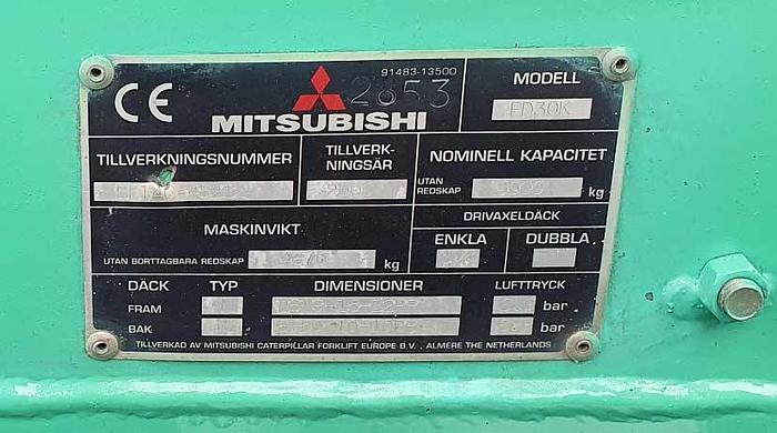 2000 Mitsubishi  Diesel Forklift Mitsubishi FD30K