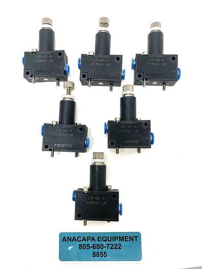 Used Festo LR-QS-6 153541 Pressure Regulator Lot of 6 (8855)W