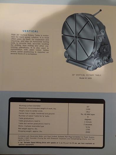 """PRATT & WHITNEY MODEL M-1835 30"""" VERTICAL ROTARY TABLE"""