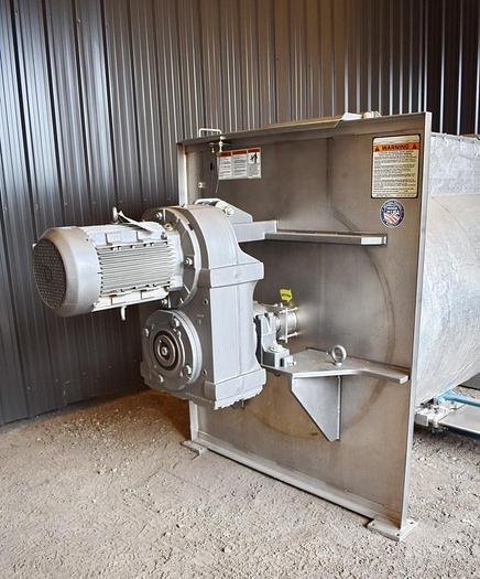 USED MARION PADDLE BLENDER, 60 CUBIC FEET, STAINLESS STEEL WITH DISCHARGE HOPPER & CONVEYOR