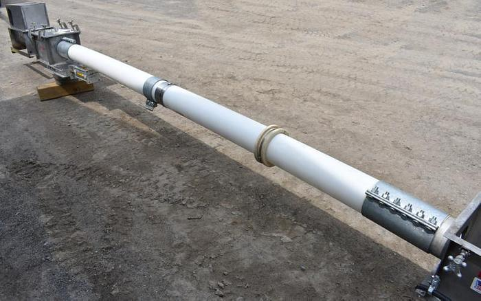 USED SCREW CONVEYOR, 6'' DIAMETER X 18' LONG, STAINLESS STEEL, SANITARY, ''FLEXICON''
