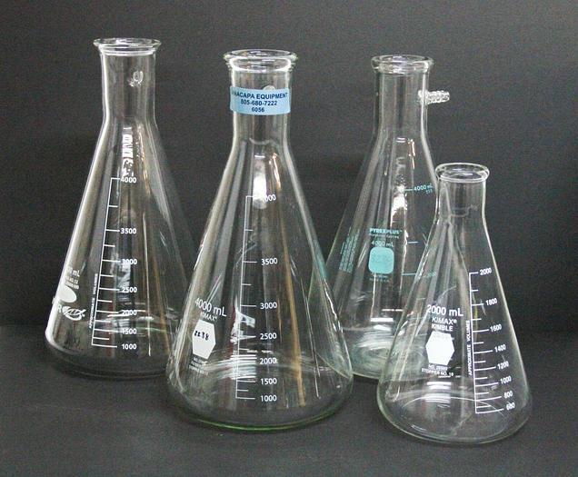 Used VWR Pyrex Kimax 400mL Kimax 2000mL Filter Flask Graduated LOT OF 4 (6056)