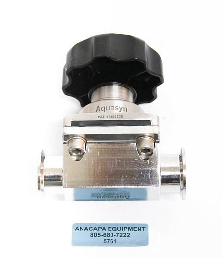 """Used Aquasyn 316LSS 061COM 1.5"""" AWF Stainless Steel Diaphragm Two-Way Valve (5761) g"""