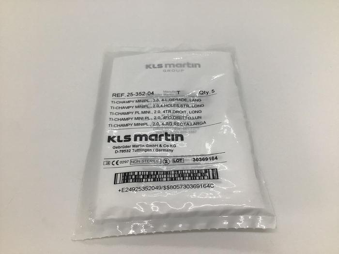 KLS Martin Champy Mini Plate TI 2.0,4 holes,STR,long Pack of 5 25-352-04