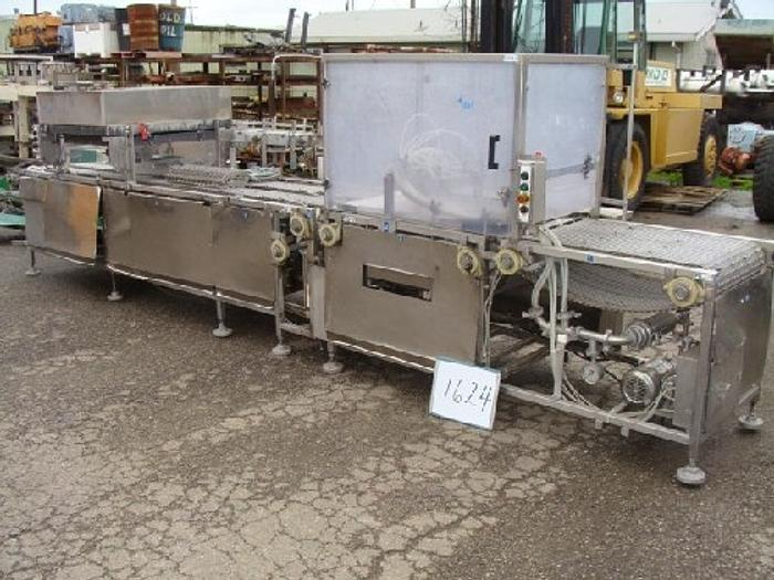 "Raque Raque Sauce Depositor/Spreader Conveyor 24 wide x 19' long all stainless steel construction with (2) 8"" wide x 11' long sections with Cambridge open-wire"" #1624"
