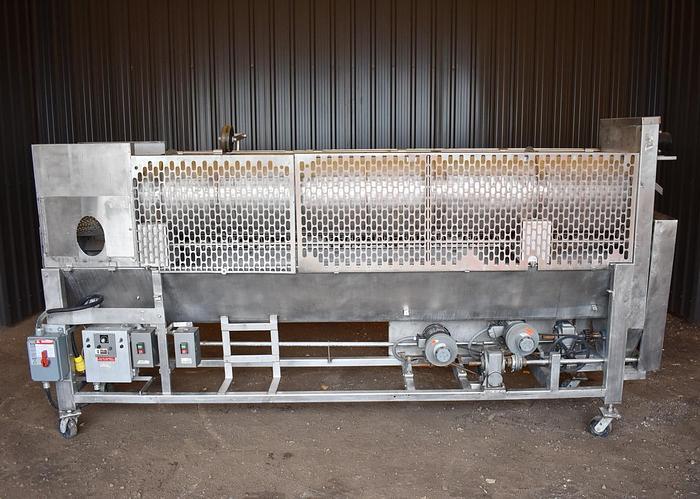 Used USED STAINLESS STEEL COATING DRUM / TUMBLER, 18'' DIAMETER X 126'' LONG, WITH AUGER CONVEYOR