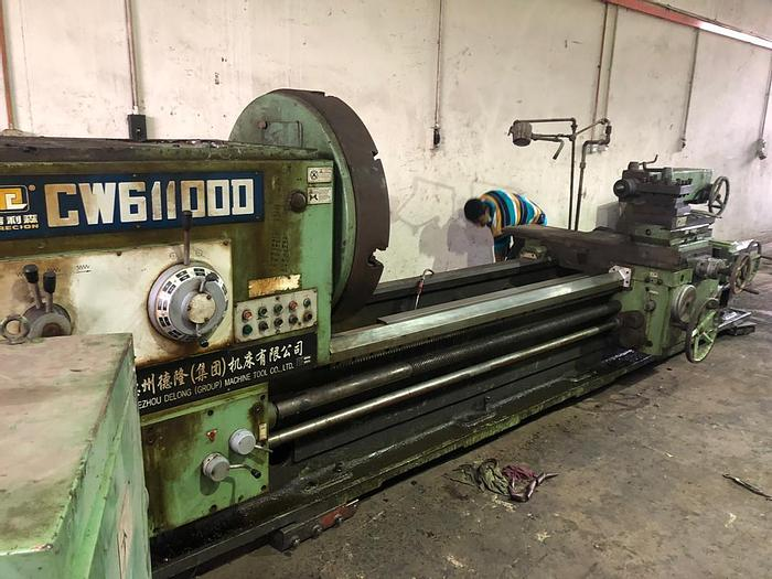Used 2007 DEZHOU DELONG CW611000 LONG BED CONVENTIONAL MANUAL LATHE MACHINE
