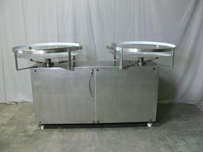 "Used Stainless Steel Dual 36"" Diameter Accumulation / Feeding Production Turntable"