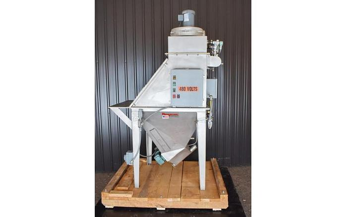 USED FLEXICON TOTE/BAG DUMP STATION WITH DUST COLLECTOR, STAINLESS STEEL