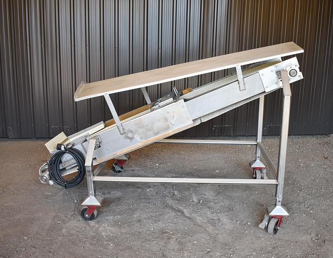 Used USED STAINLESS STEEL BELT CONVEYOR, 16'' WIDE X 92'' LONG, WITH ERIEZ MAGNET