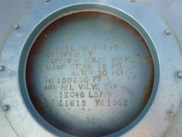 1992 SUPERIOR Boiler 15 PSI Skid Mounted Low Pressure Boiler