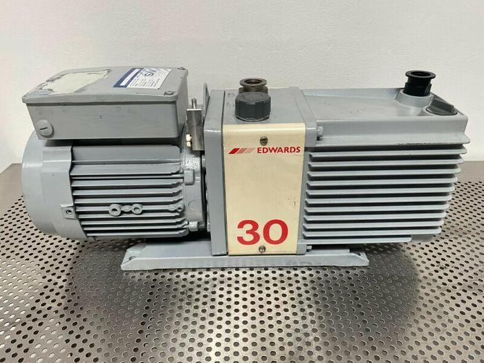Used Edwards E2M30 Single Phase Rotary Vacuum Pump 23 CFM w/ 1.2 HP Motor 240V