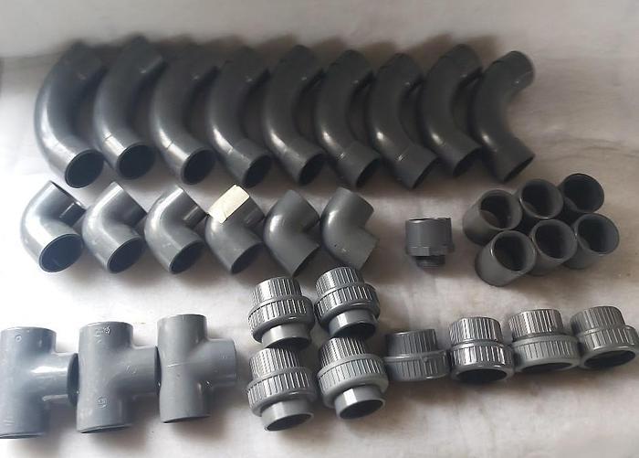 33 Stück Klebefittinge, PVC U, d63mm, s6.3, PN 16, DN50mm, GF,  neu