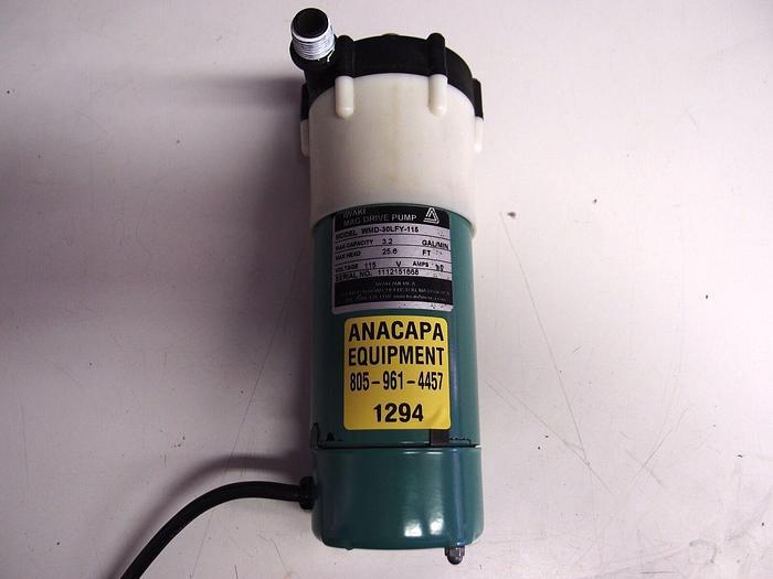 Used Iwaki WMD-30LFY-115  Mag Drive Pump 3.2 GPM, Max Head 26, 1/16HP, 3200rpm (1294)